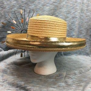 Miriam Lefcourt Straw Hat Gold Metallic Band